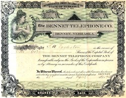 Bennet Telephone Co. (Certificate #1) - Nebraska 1903