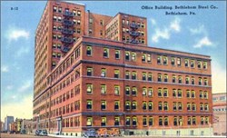 Bethlehem Steel Office Building Postcard - Bethlehem, Pa. 1940's