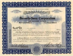 Beverly-Senz Corporation 1929