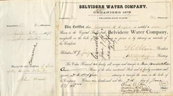Belvidere Water Company signed by DeWitt Clinton Blair - New Jersey 1904
