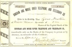 Bingham and Moose River Telephone and Telegraph Company - Maine 1885