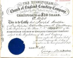 Birmingham Church of England Cemetery Company - England 1848