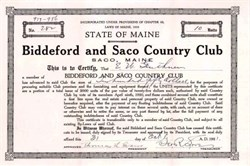 Biddeford and Saco Country Club 1921 - Maine