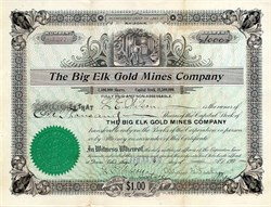 Big Elk Gold Mines Company - Arizona 1907