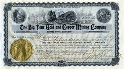 Big Four Gold and Copper Mining (Rare find signed by early car maker John W. Henney and Remick Music Corporation Founder, Jerome H. Remick)  - Leadville, Colorado 1899