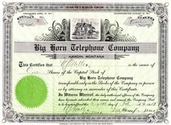 Big Horn Telephone Company - Montana 1912