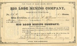 Big Lode Mining Company - Incorporated in Jersey, City, New Jersey 1883