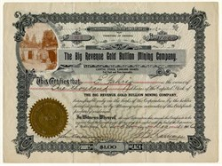 Big Revenue Gold Bullion Mining Company - Arizona 1906