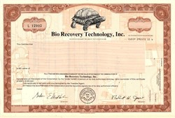 Bio Recovery Technology, Inc. - (Now Electronic Clearing House) -  Nevada 1981