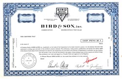 Bird & Son, Inc. (Bird Neponset Products)  - Massachusetts