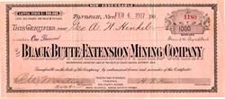 Black Butte Extension Mining Company - Esmeralda. Goldfield Tonopah, Nevada 1907