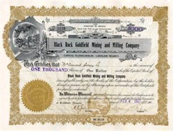 Black Rock Goldfield Mining and Milling Company 1907 - Territory of Arizona - Goldfield, Nevada