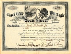 Black Bear-War Eagle Gold Mines - Washington 1934