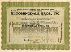 Bloomingdale Bros. Inc. (Famous Bloomingdale's Department Store)  handsigned by Samuel and Irving Bloomingdale - 1926