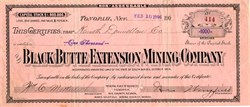 Black Butte Extension Mining Company signed by George Wingfield - Esmeralda. Goldfield Tonopah, Nevada 1906