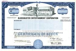 Blockbuster Inc. (Pre Netflix) - Blockbuster Older Design Specimen Stock Certificate - 1992