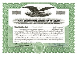 Black Entertainment Corporation of America issued to Kenneth Rifkind and signed by Al Sharpton (Reverend Alford Sharpton Jr. ) as President -  Delaware 1981