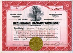 Blackhawk Remedy Company (Rare Snake Vignette)  - Snake Oil Company - Baltimore, Maryland 1920