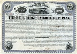 Blue Ridge Railroad Company - Guaranteed by the State of South Carolina and signed by Henry Clews -1869