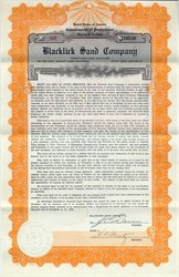 Blacklick Sand Company (Sinking Fund Gold Bond) - Ebenburg, Pennsylvania 1923