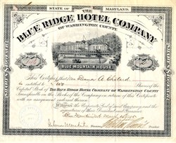 Blue Ridge Hotel Company (Blue Mountain House ) - Maryland 1895