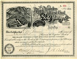 Black Wonder & West End Gold Mining Co. (mining map vignette) - Sherman, Hinsdale County, Colorado 1895