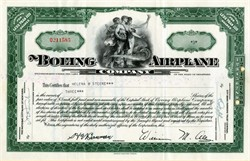 Boeing Airplane Company (Early Boeing Airplane Company stock certificate) - Delaware 1952