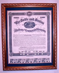 Bodie and Benton Railway and Commercial Company signed by Henry Marvin Yerington as President, California 1886 - Framed