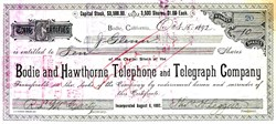 Bodie and Hawthorne Telephone and Telegraph Company - California 1892