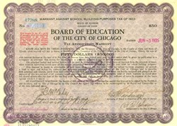Board of Education City of Chicago signed by Mayor Edward J. Kelly 1935