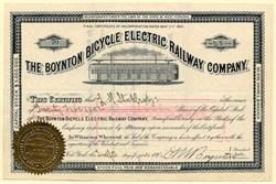 Boynton Bicycle Electric Railway Company signed by Eben Moody Boynton  - Incorporated in West Virginia 1891
