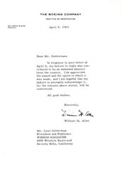 Boeing Company Letter signed by Company President, William Allen - 1963