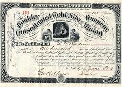 Boulder Consolidated Gold and Silver Mining Company of Colorado - 1881