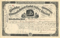 Boulder Consolidated Gold Silver Mining of Colorado - 1880