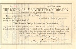 Boston Daily Advertiser Corporation signed by Henry Cabot Lodge as President - Massachusetts 1886