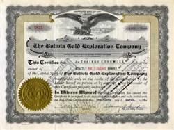 Bolivia Gold Exploration Company - Colorado 1929