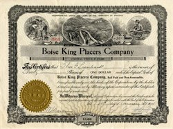 Boise King Placers Company - Property in Idaho - Organized in Arizona 1914