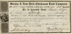 Boston & New York Chickasaw Land Company (Uncancelled) - Boston, Massachusetts 1836