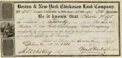 Boston & New York Chickasaw Land Company (Uncancelled) - Boston, Massachusetts 1836