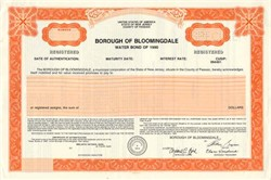 Borough of Bloomingdale Water Bond, New Jersey