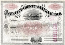 Bond of the City and County of San Francisco (Signed by Frank McCoppin the first Irish-born, and foreign-born Mayor of San Francisco - California 1867