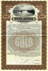 Imperial Irrigation District - First Issue - Imperial Valley, California 1915