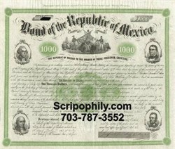 Bond of the Republic of Mexico, $1000, 1865 Signed by General Ocha- Sold Out - We are buying these bonds