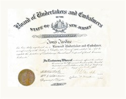 Board of Undertakers and Embalmers - New Jersey 1916