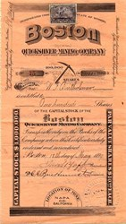 Boston Quicksilver Mining Company - Napa County, California 1899
