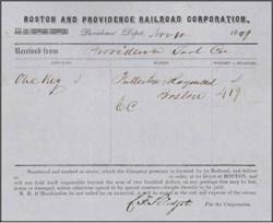 Boston and Providence Railroad Corporation 1849
