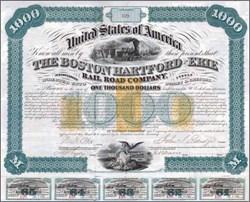 Boston, Hartford & Erie Railroad Company 1866 - Imprinted Tax Stamps