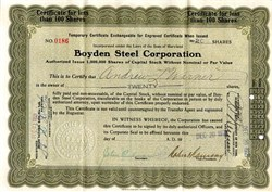 Boyden Steel Corporation - Maryland 1921