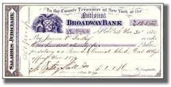 "Historic ""Boss"" Tweed Scandal Gang New York City signed check - 1870"