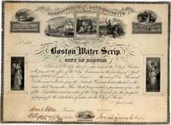 Boston Water Scrip 1847 signed by Josiah Quincy Jr. as Mayor